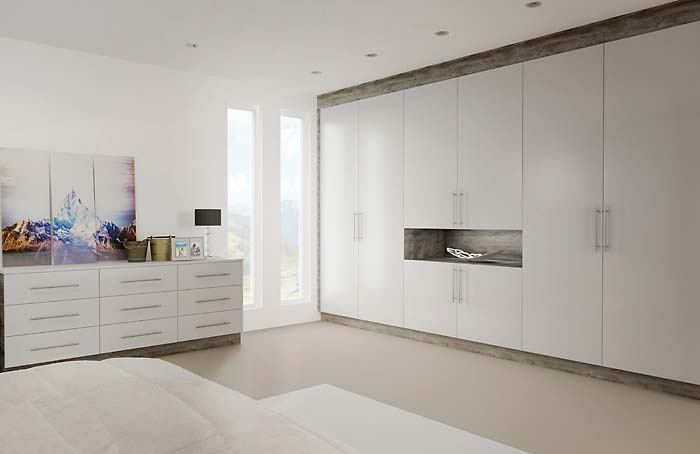 Glacier Super Matt Light Grey Fitted Bedroom